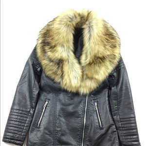 Pea coat style jacket with faux fur collar.